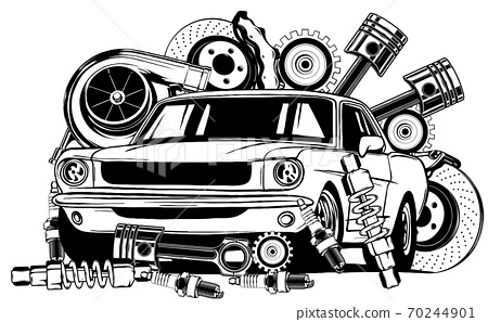 Vintage car and components collection in black and white 70244901