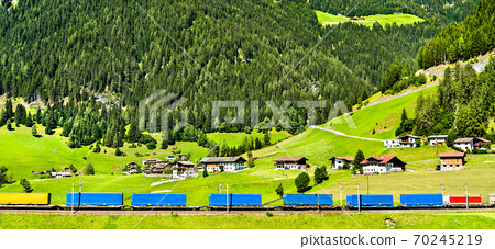 Trailers crossing the Alps by rail in Austria 70245219