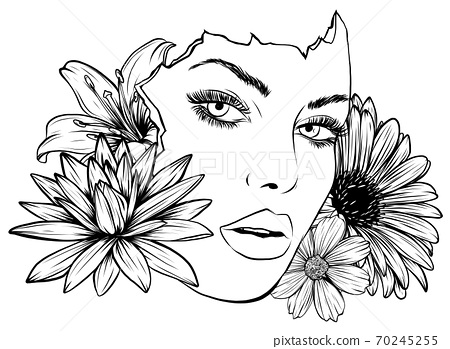 portrait of young beautiful woman with flowers vector 70245255