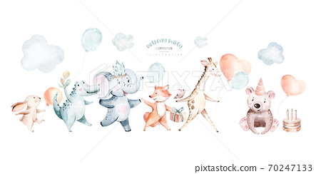 Cute baby balloon birthday party nursery watercolor dancing fox, elephant and bunny, crocodile, giraffe nad bear rabbit animal isolated illustration for children baby shower. Tropical forest and 70247133