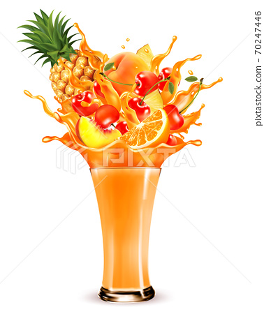 Exotic fruit juice splash. Whole and sliced pineapple, orange, peach, cherry fruit in a sweet juce or cocktail with splashes and drops isolated on transparent background. 3D. Vector. 70247446