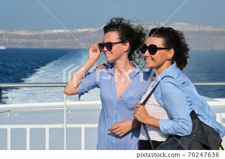 Family travel luxury cruise vacation, sunny summer day 70247636