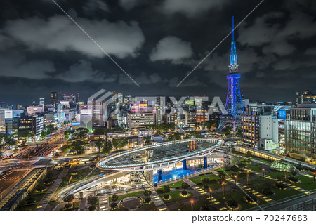 Aichi Prefecture Nagoya cityscape Oasis 21 TV tower night view 70247683