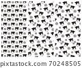 設置3種類型的牛和花錯位模式(黑白) 70248505