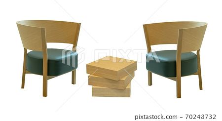 Wooden modern table and chair isolated on white background 70248732