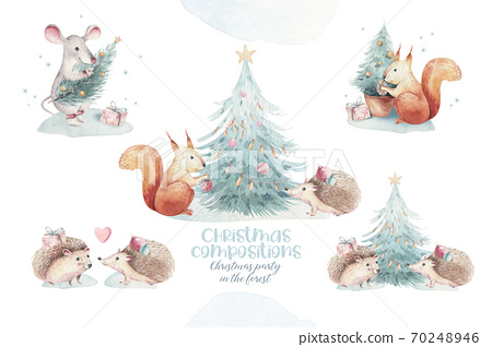 Set of Christmas Woodland forest cartoon hedgehog, cute squirrel, mouse, bunny hare animal character. Winter raccoon christmas tree floral elements, bouquets, berries, fllowers, snow and snowflakes, 70248946