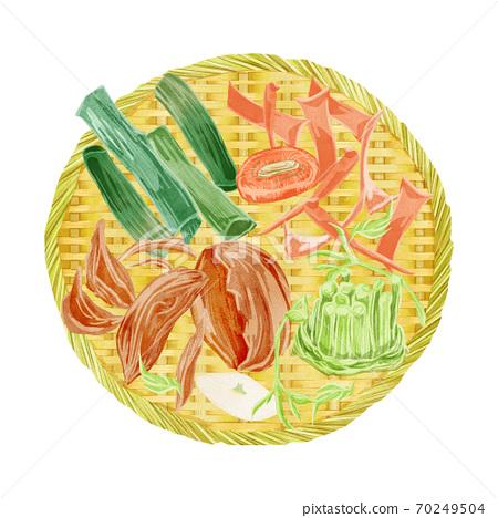漏勺上的廢蔬菜的插圖 70249504
