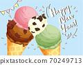 冰牛新年賀卡,上面放牛形巧克力(水平) 70249713