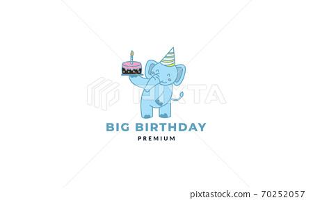 Elephant with cake birthday cute cartoon vector illustration 70252057