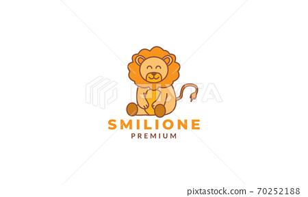 lion sit cute cartoon logo icon vector illustration 70252188
