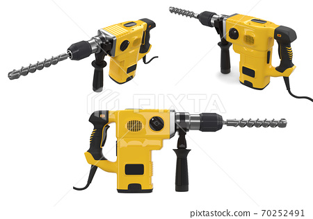 Set of electric drills with cord and attached metal bit, tool for repair 70252491