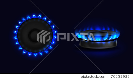 Burning gas stove with blue flame top or side view 70253983