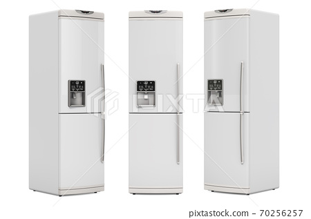 Refrigerator, front and side views. 3D rendering 70256257
