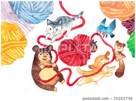毛線球和動物 70263736