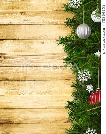 聖誕裝飾品和木牆-有多種變化 70264155