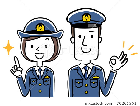 插圖素材:男警官和女警官,OK標記 70265501