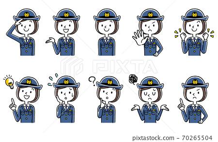 插圖素材:年輕的女警官,女警察,一組 70265504