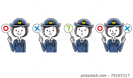 插圖材料:年輕的女警官回答問題 70265527
