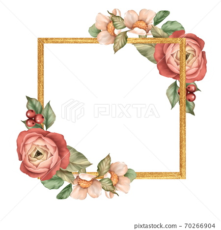 Gold square frame with flowers and leaves 70266904