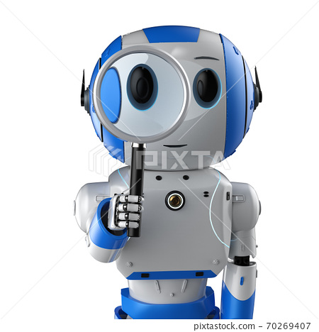 robot with magnifying glass 70269407