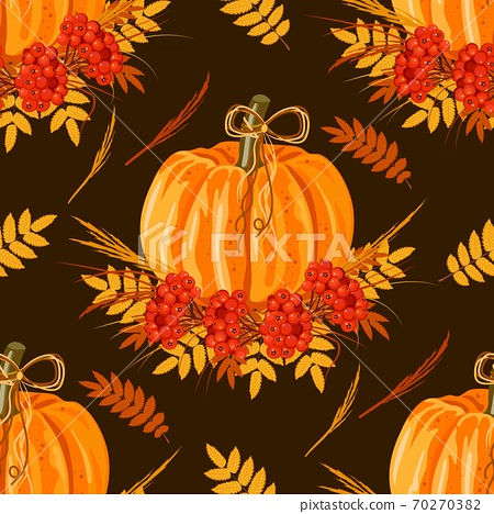 Seamless pattern with leaves and pumpkins. Vector autumn background. 70270382