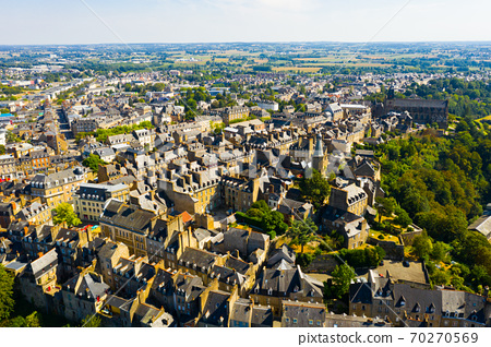 Flight over the city Fougeres on summer day. City of Fougeres 70270569