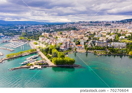 View from drone of Swiss town Lausanne 70270604