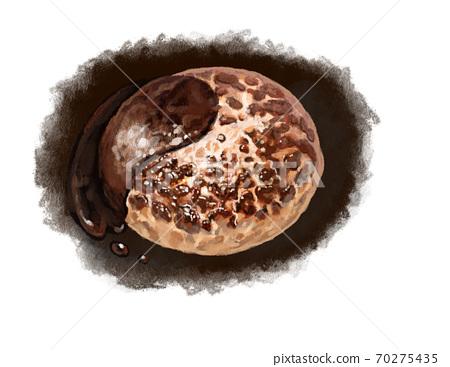 鐵板上的漢堡包,配半乳糖醬 70275435