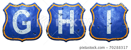 Set of Public road signs in blue and orange color with a capitol white letters G, H, I in the center isolated white background. 3d 70288317