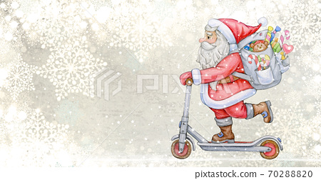 Santa Claus with scooter and gifts. Background for Christmas design. 70288820