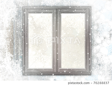 Snowy window. Background for holiday,  winter design.  Christmas background. 70288837