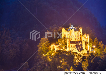 Hohenschwangau Castle at night in the Bavarian Alps of Germany 70288978