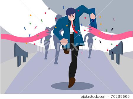 Leadership concept Business people cross the finish line to success Creative Vector cartoon illustration 70289606