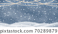 Decorative Christmas background with bokeh lights and snowflakes. 70289879