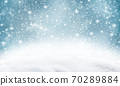 Decorative Christmas background with bokeh lights and snowflakes. 70289884