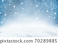 Winter landscape with falling snow. 70289885
