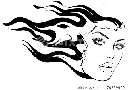 face Women and Fire vector illustration art 70289966
