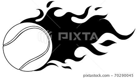 illustration of highly rendered tennis ball, isolated in black and white 70290045