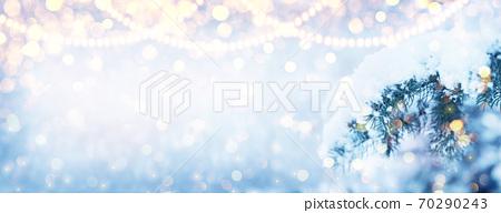 Winter fir tree christmas scene with sunlight. 70290243