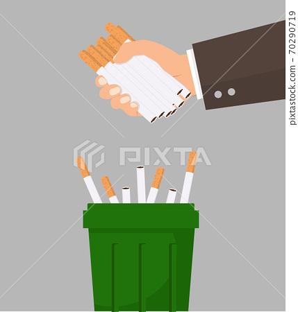 Hand putting cigarettes in trash bin vector concept 70290719