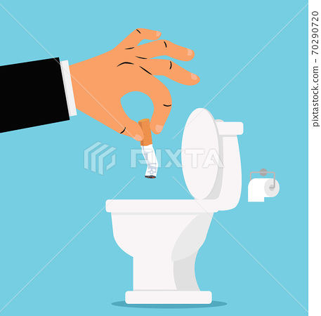 Hand putting cigarettes in White toilet 70290720
