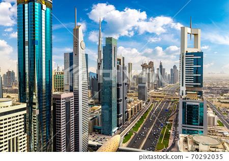 Aerial view of downtown Dubai 70292035