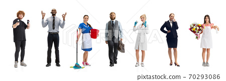 Group of people with different professions isolated on white studio background, horizontal 70293086