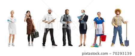 Group of people with different professions isolated on white studio background, horizontal 70293139