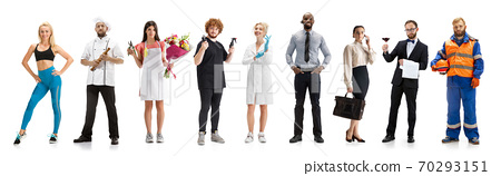 Group of people with different professions isolated on white studio background, horizontal 70293151