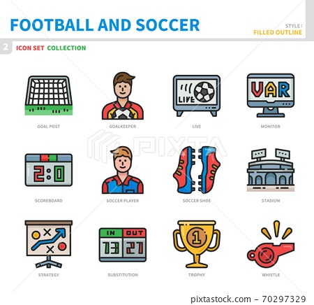 football and soccer icon set 70297329