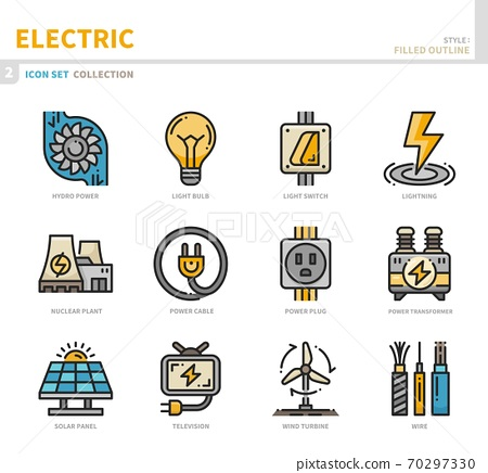 electric icon set 70297330