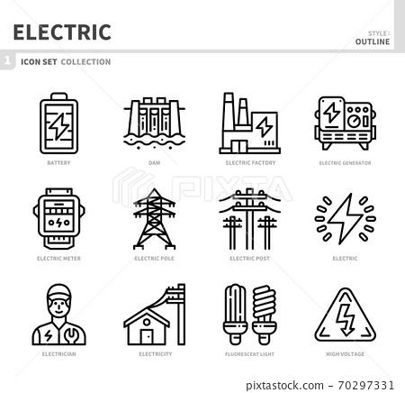 electric icon set 70297331