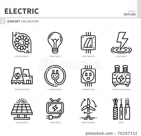 electric icon set 70297332