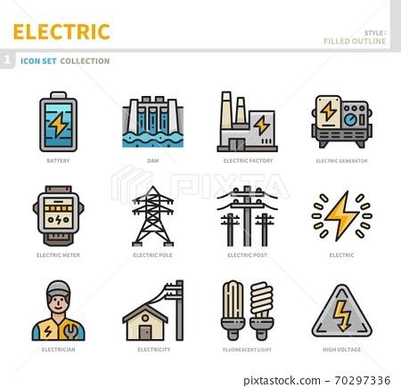electric icon set 70297336
